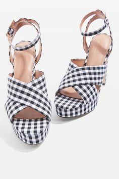 MADRID Gingham Cross Strap Platform Heels - Party Shoes - Shoes - Topshop USA