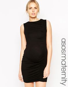 Image 1 of ASOS Maternity Body-Conscious Dress With Asymmetric Ruching