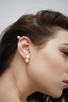 Two pearls each Cuff Earrings, Pearl Stud Earrings, Pearl Studs, Gold Pearl, Ear Jewelry, Jewelery, Fine Jewelry, Baroque Pearls, Modern Jewelry