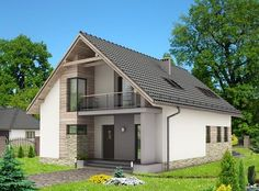 Wizualizacja HG-n3 CE - DOM.pl House Design Photos, House Front Design, Small House Design, Modern Fence Design, Modern House Design, Beautiful Modern Homes, Modern Bungalow House, Attic Design, Dream House Plans