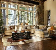 Great Pottery Barn room--but it helps that the room has great bones...windows, stone surround, and wood floors...