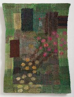 Myyntikokoelma - Inka Kivalo: Kesä kääntyy Annorlundassa Textile Tapestry, Tapestry Nature, Tapestry Weaving, Fabric Art, Fabric Design, Rya Rug, Fiber Art Quilts, Modern Tapestries, Weaving Textiles