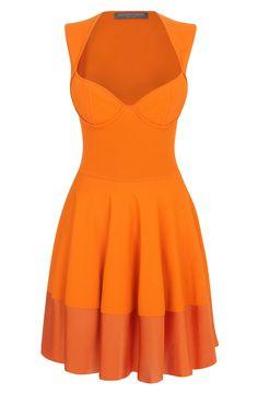 Alexander McQueen Orange Exposed Bustier Mini-Dress