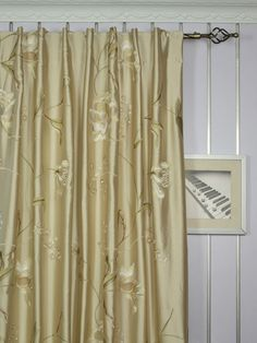120 Inch Extra Wide Morgan Deep Champagne Embroidered Floral Faux Silk Curtains | Cheery Curtains | Cheery Curtains: Ready Made and Custom Made Curtains For Less