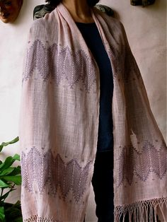 Natural dyed hand woven gauze shawl