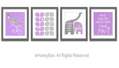 Purple gray wall art nursery decor children toom art by HoneyBoo, $42.00