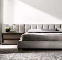 Vertical Channel Extended Headboard Fabric Platform Bed
