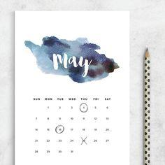 Printable Calendar 2017 Watercolor Calendar by FearlessConfetti