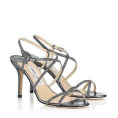 Jimmy Choo Elaine Sandals Light Anthracite Lam Glitter Strappy Sandals Usa