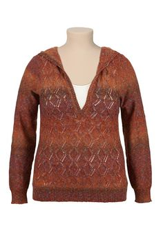 High-Low Ombre Pointelle Stitch Hooded Sweater (original price, $39) available at #Maurices