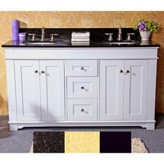 Natural Granite Top 60 Inch Double Sink Bathroom Vanity In White Finish By  Legion Furniture