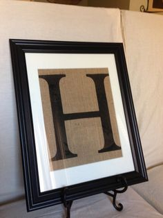 DIY- for master bathroom... I can make this easily, need to make a J and E... and I already have the letters! Custom monogram on burlap framed wall decor by WellNestedDesign, $40.00