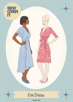 Sew Over It Sewing Pattern. Eve is a versatile wrap dress with endless potential. With two stunning variations creating completely different looks, there's so much fun to be had with this pattern! Sew Over It Patterns, Dress Making Patterns, Sewing Patterns, Clothes Patterns, Print Patterns, Diy Dress, Wrap Dress, Party Dress, Summer Wedding Outfits