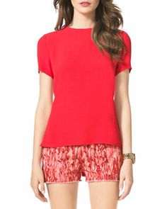 Michael Kors Coral Reef Charmeuse Flare-Back Top-$89.00