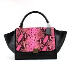Love! - Celine Trapeze Handbag In Phyton Pink Leather