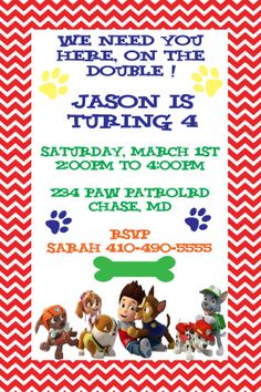 Paw Patrol Party Invitationsdigital file I edit by BellaBabies4
