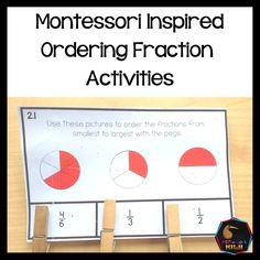 Montessori Math, Montessori Elementary, Montessori Materials, Elementary Math, Math Stations, Math Centers, Ordering Fractions, Fraction Activities
