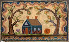 'Homestead' hooked by Cheryl Saltzberg