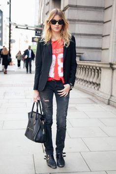 Ripped Jeans + Old Tee + Blazer