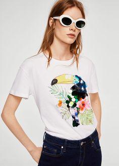 Mango Sequin Print T-Shirt - Women Fabric Paint Shirt, Moda Mango, Beach T Shirts, Shirt Print Design, Mango Fashion, Short Tops, Unique Fashion, Shirts For Girls, Ideias Fashion