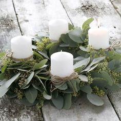support bougies a base d eucalyptuse pour deco noel
