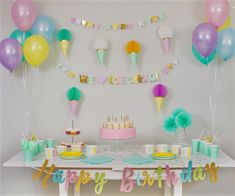 Ice Cream Party!  Mint, Yellow, Pink, Purple and Blue. Party in a box, one purchase, quick set up and all of a sudden, you have a 'PartyMade' that is Pinterest worthy! Mint Party, Blue Party, Ice Cream Tubs, Ice Cream Party, Party In A Box, For Your Party, 1st Birthday Banners, Birthday Parties, Pinwheels