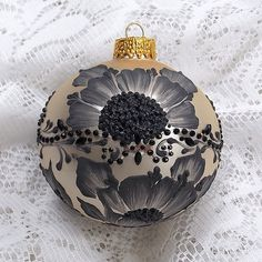 Soft Pale Gold and Black Hand Painted 3D Floral MUD Ornament with Bling 143