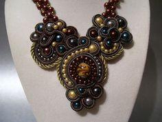 Soutache Statement Pearl Beadwork Necklace Pendant