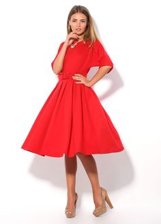 Red Maxi Dress Day Casual Dress with BeltAutumn by FashionDress8