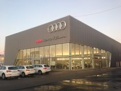 Audi showroom | Minale Tattersfield | Flickr Audi, Halle, Mall Facade, Retail Architecture, Commercial Street, Workshop Design, Showroom Design, Factory Design, Facade Design