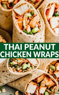 Healthy Asian chicken wraps with Thai peanut sauce are an easy 30-minute meal loaded with tender chicken, crunchy broccoli slaw, and edamame. Clean Recipes, Healthy Recipes, Clean Meals, Asian Chicken Wraps, Thai Peanut Sauce, Broccoli Slaw, Food Hacks, Food Tips, Edamame