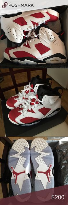Air Jordan 6 Carmine / Size 10.5 Bought these DS last year and have only worn them twice since. Only selling because I never wear them. They have zero defects, no major signs of wear and are 100% authentic. Jordan Shoes Sneakers