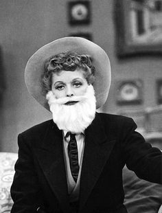Lucille Ball in drag in 'I Love Lucy', 1950s.  You rock, Lucy! Even--no, especially--in a beard!