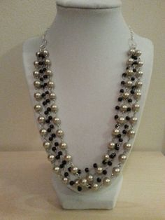 Black and beige pearl silver plated statement necklace/Bib necklace/ Multi strand pearl necklace on Etsy, $17.00