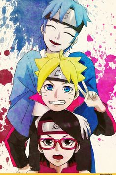 In the anime version, Boruto is arguably not very strong yet. Sarada excels even more in one-on-one duels than Boruto, who must still be helped to def. Naruto Shippuden Sasuke, Anime Naruto, Sarada Uchiha Tumblr, Naruto Chibi, Manga Anime, Sarada E Boruto, Naruto Und Sasuke, Naruto Team 7, Naruto Fan Art