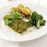 Seabass with a Pea Shoot and Pinenut Crust