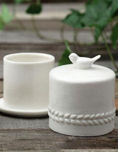 White Butter Crock