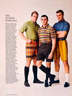 1963 Ad Vintage Madras Clothing Bermuda Shorts Plaid Shirt Mad Men Fashion Style