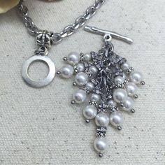 White Swarovski Pearl Beaded Pendant Necklace (Customer Design) - Lima Beads