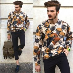 Dog sweater for men with leather backpack.
