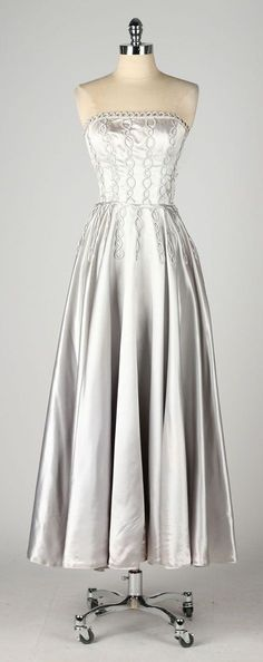 vintage 1940s dress . silver satin gown . by millstreetvintage