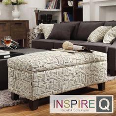 Kayla Herringbone Fabric Storage Bench Ottoman | Overstock.com Shopping - The Best Deals on Ottomans