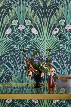 This bold & beautiful Bluebell Wallpaper by Cole and Son forms part of the new Botanical Botanica Collection and features a fretwork of wild field flowers in a sophisticated Art Nouveau style. Green Leaf Wallpaper, Bold Wallpaper, Botanical Wallpaper, Original Wallpaper, Pattern Wallpaper, Print Wallpaper, Bohemian Wallpaper, Wallpaper Online, Wallpaper Ideas