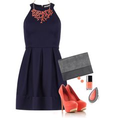 """Navy and Coral Date Night"" by misstinamaria on Polyvore"