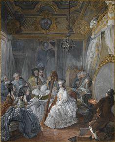 Jean-Baptiste-André Gautier d'Agoty, Marie-Antoinette playing the harp at Versailles as the artist paints her, gouache, 67.5 x 54.5 cm (Versailles)
