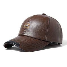 Men Vintage PU Leather Baseball Cap Outdoor Windproof Warm Hats Adjustable Sports Caps - Banggood Mobile
