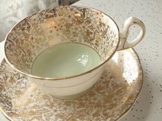 Even softer green. 💗 Vintage English tea cup set, Royal Stafford bone china tea cup and saucer, gold tea cup, green tea set Tea Cup Set, My Cup Of Tea, Tea Cup Saucer, Tea And Crumpets, English Tea Cups, Antique Tea Cups, Bone China Tea Cups, Teapots And Cups, Tea Accessories