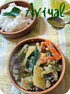 AVIYAL- A rich variety of vegetables cooked in yoghurt. This is one of the popular dish in South India, especially in Kerala.It is a classic dish andnutritious.The taste of adding coconut oil before serving gives an unique flavor to this recipe. This goes well with rice and also withAdai- Lentils Dosa.