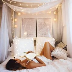 so even without a canopy bed you could drape lace at the head like that with twinkle lights ah so pretty ideen himmelbett Depri-Stimmung? Dream Rooms, Dream Bedroom, Home Bedroom, Girls Bedroom, Bedroom Decor, Bedrooms, Fall Bedroom, Room Goals, Aesthetic Room Decor