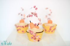 How to make swirling fall leaves cupcake topper out of wire, paper, and a scrapbook leaf punch. Cupcake Crafts, Cupcake Ideas, Decorating Tips, Cake Decorating, Cupcake Queen, Cupcakes, Fondant Toppers, Cupcake Wrappers, Fall Baking